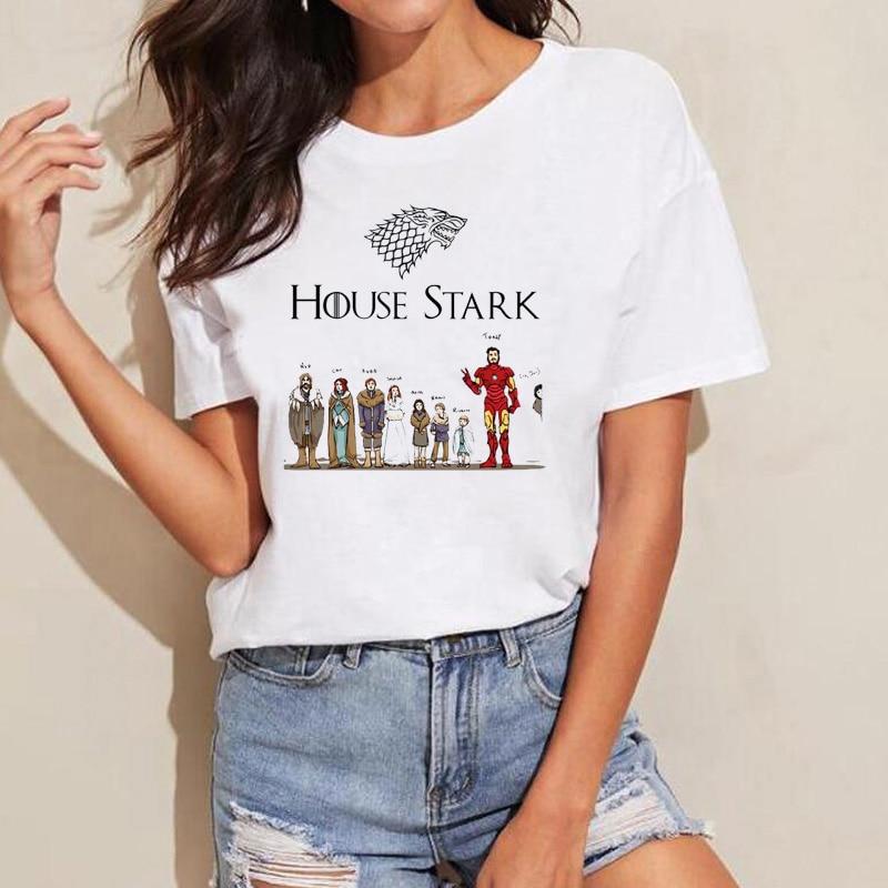 Game of Thrones T Shirt Tony Stark T-Shirt Women House Stark GOT Shirts Women's Summer Coming T-shirt Iron Man Tony Stark Tops