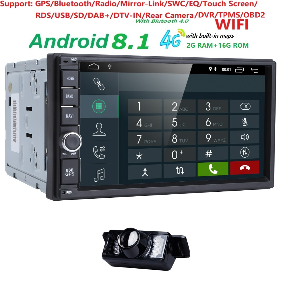 Capacitive Android8.1 4G Wifi Car Monitor GPS Navigation 2din Stereo Radio GPS Bluetooth USB Built-in map mic Mirror-link Camera