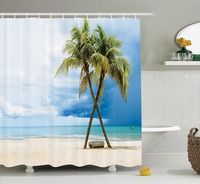 Shower Curtain Cloudy Sky Boat in the Sea Palm Trees Sandy Beach Thailand Seascape Picture Bathroom Accessories Green Blue