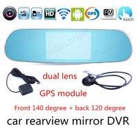 Новый 5.0 дюймов для Android Сенсорный экран автомобиля двух камер Зеркало заднего вида GPS видеорегистратор Full HD DVR Wi Fi fm передатчик видеомагнито