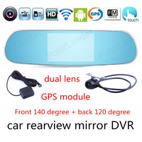 New 5 0 Inch For Android Touch Screen Car Two Cameras Rearview Mirror GPS DVR Full