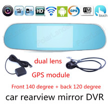 Cheapest prices New 5.0 inch for Android Touch Screen Car two Cameras Rearview Mirror GPS DVR Full HD DVR Wifi FM transmitter video recorder
