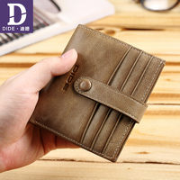 DIDE Genuine Leather Purse Wallet Men Couples Lovers Purses Women Vintage Style Purse Pockets Mini Walet