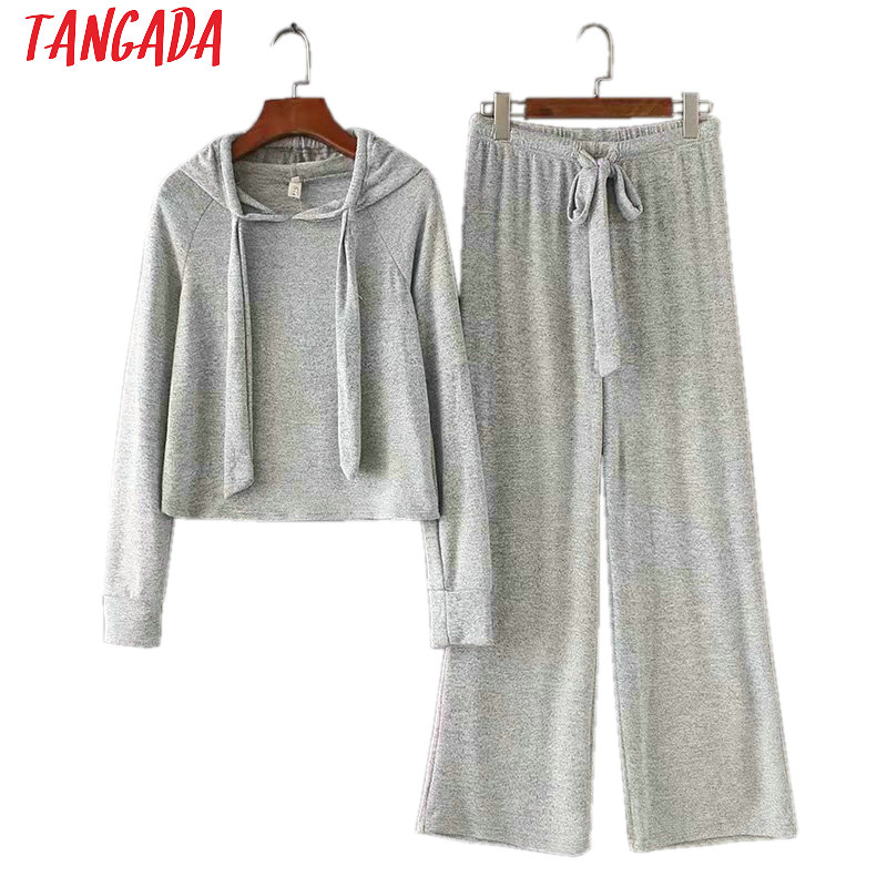 Tangada Fashion 2019 Korean Women Tracksuits Knitted Wide Leg Pants Set Two-piece Suits Female Matching Set Sweat Suits SD58