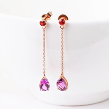 gemstone jewelry wholesale new-designed trendy 18k gold natural purple crystal amethyst earring for women wedding engagement