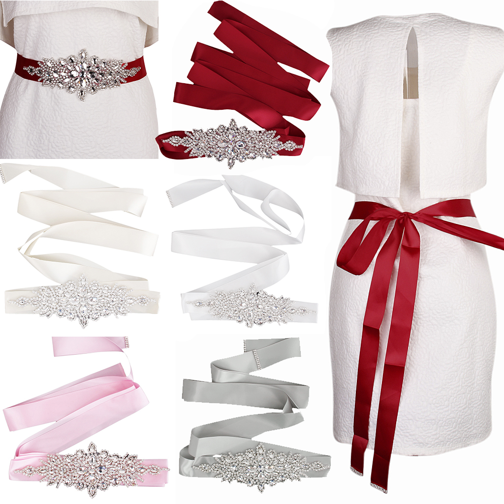New Hot Sale Bridal Wedding Dress Belt Sash Crystal Rhinestone Sparkle Ribbon Tie Bridal Rhinestone Sparkle Long Ribbon 5 Colors