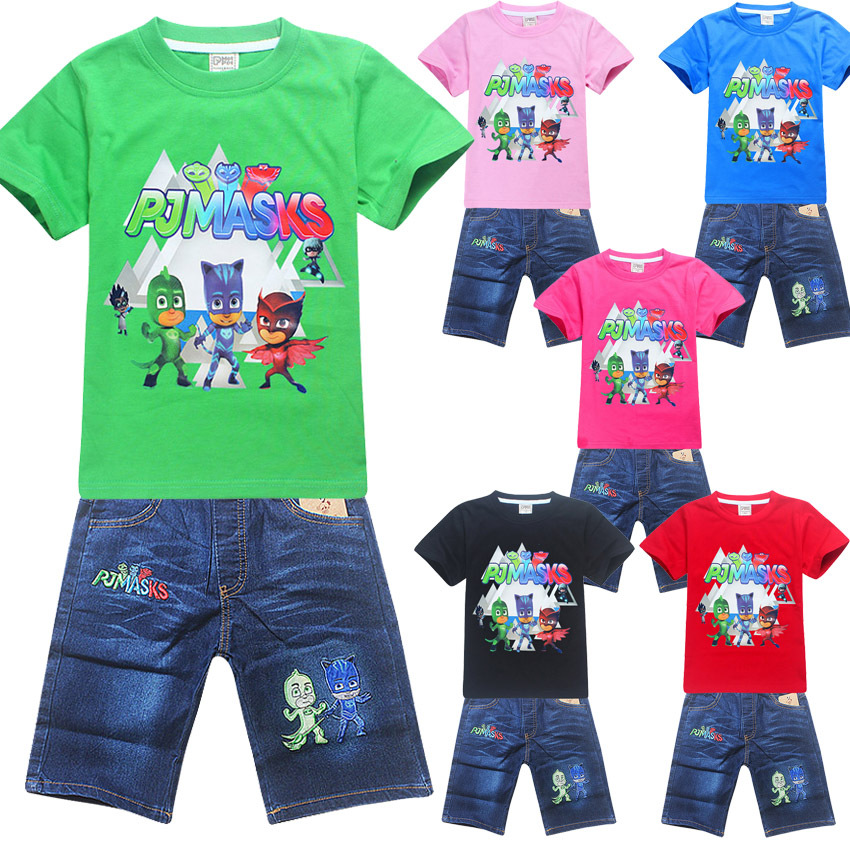 summer cotton girlchildren's clothing children baby boy  shirt short-sleeved T-shirt jeans set  cartoon pattern