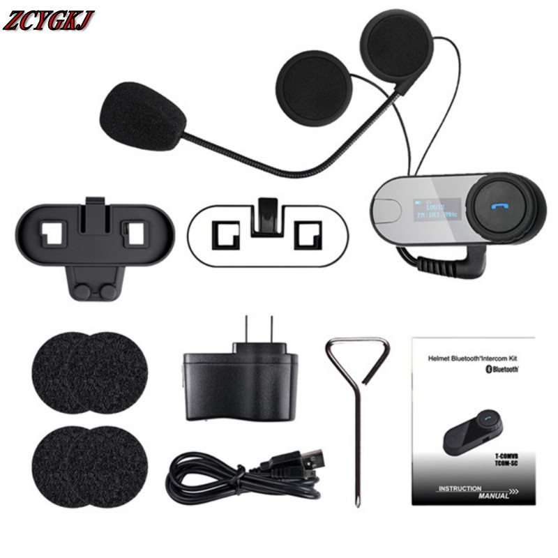 Newest Original BT Bluetooth Motorcycle Helmet Intercom Interphone Headset with LCD screen + FM Radio