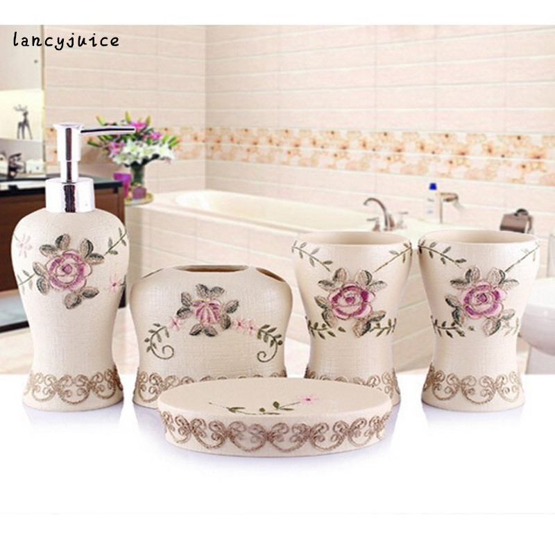 rose bathroom sets embroider elegant bath accessories lotion bottle toothbrush holder two tumblers soap dish exquisite