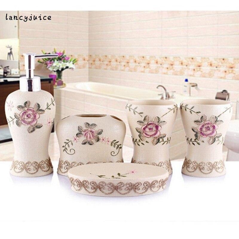 Rose Bathroom Sets Embroider Elegant Bath Accessories Lotion Bottle Toothbrush Holder Two