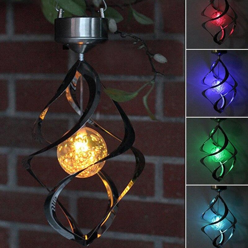 Bunte Solar lampe Powered LED Windspiele Wind Spinner Outdoor Hängen Spirale Garten Licht Hof Dekoration