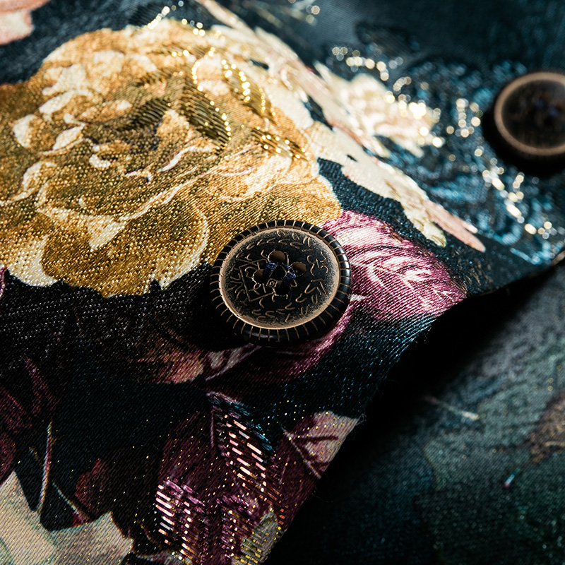 2019 Moda Mens Impresso Blazers Casual Slim Fit Vestido de Baile Homens Blazer Floral Verde Estágio Wear Blazers Paletó para Os Homens #821 - 5