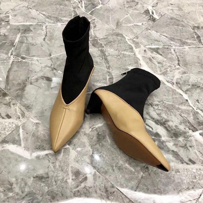 2019 nouvelles bottines à coutures pointues coniques avec des bottes en tissu élastique femmes bottines à talons hauts chaussures pour femmes bottes boty - 4