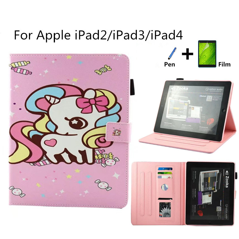 Case for iPad 2/iPad 3/iPad 4 PU Leather Flip Smart Cartoon style case Stand cover For iPad case 2 3 4 9.7 tablet fundas cover ...