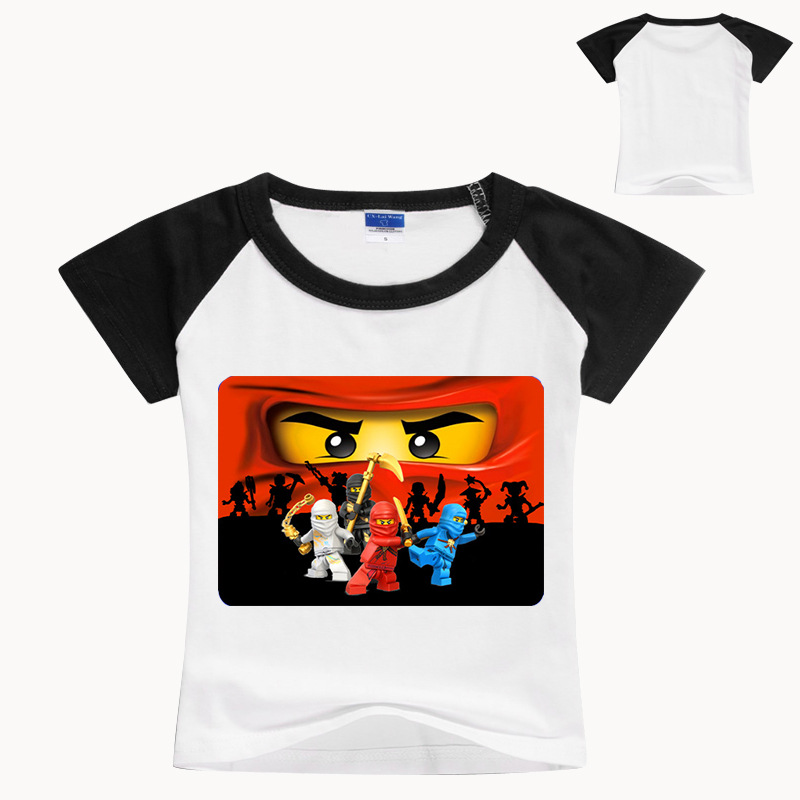 Superman Short-Sleeve T-Shirt Printing Girls Boys Kids Cartoon Summer Pure-Cotton Ninja