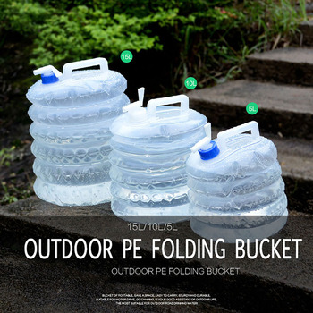Outdoor Water Bucket Folding Water Bag Storage 5/10/15L Foldable PE Plastic Food Grade Water Bottle Container Camping Survival 3