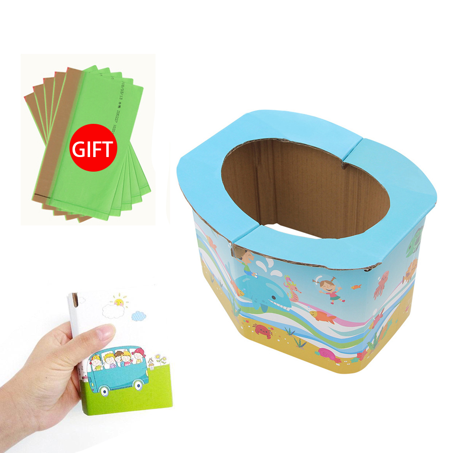 Foldable Child Kids Portable Folding Potty Seat Boys Girls Baby Travel Toilet Training Infant Emergency Potties With Free Bags(China)