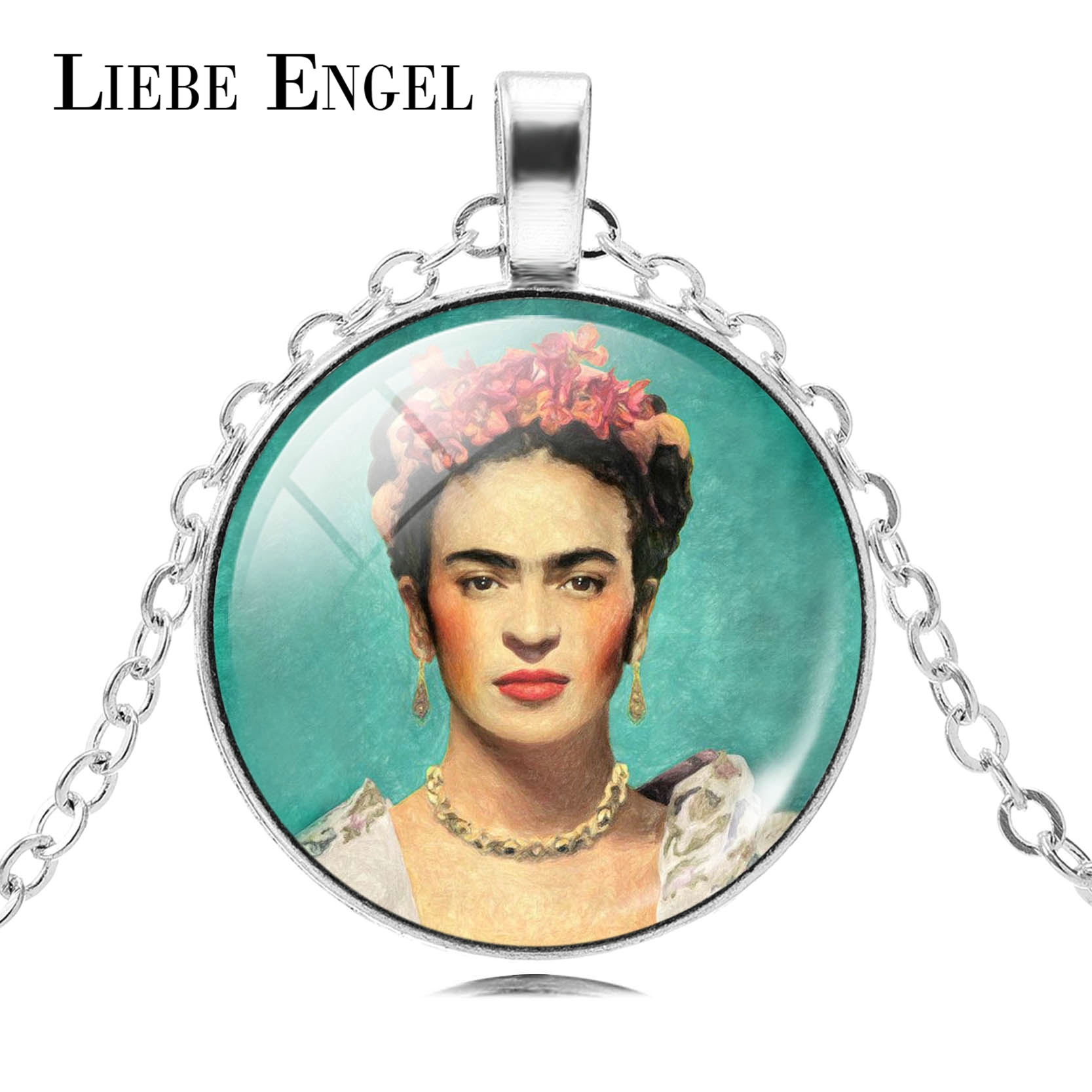 LIEBE ENGEL Frida Kahlo Glass Cabochon Choker Necklace Women Jewelry Vintage Silver Colo ...