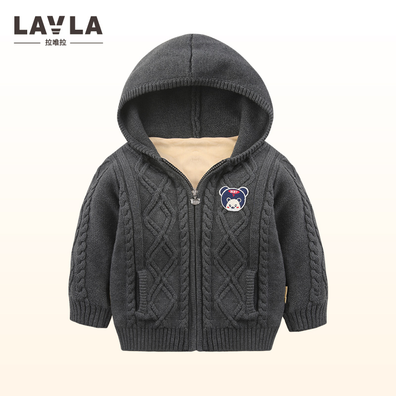 Lavla 2017 autumn winter Baby Girls boys Sweater baby Knitted Tops Hooded thicken fleece sweaters Coat kids Long Sleeve Clothes boys girls winter sweater kids knitted pullover sweater thicken warm kids cardigan sweater double breasted children outwear 2 5t