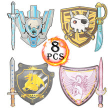 8pcs EVA Foam Swords Shield Set Unicorn Pirate Viking Dragon Warrior Design Action Figure Weapon Toy Pretend Play For Girls Boys(China)