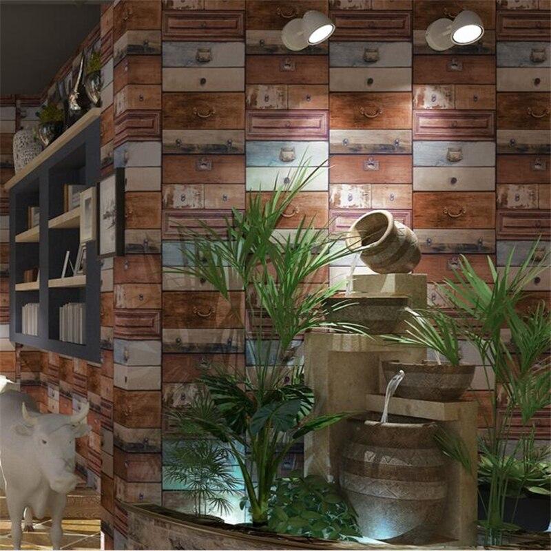 Beibehang nouvelle boîte de papier peint en bois de style américain moderne en vieux bois boîte tiroir industriel vent salle à manger papier peint