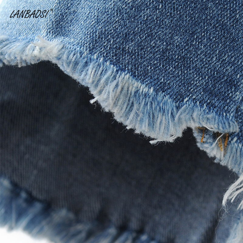 De Lavage Jean Vêtements Bleu Floral Effiloché Denim Femelle Bonne Qualité Lanbaosi Jeans Déchirés Broderie Coton Femmes Avec Pantalon Ourlet FnU7f8