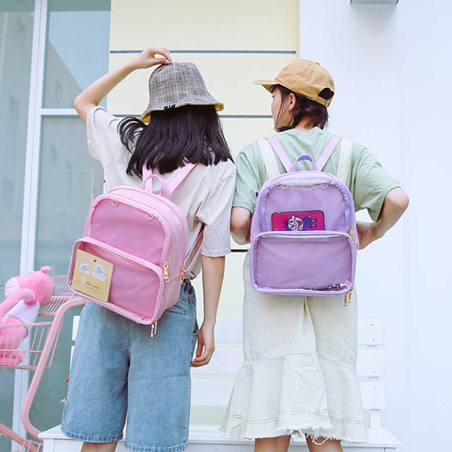 Kawaii clair Transparent Itabag femmes sacs à dos Harajuku PVC gelée bonbons couleur étudiant cartables livre sac pour adolescent filles PU