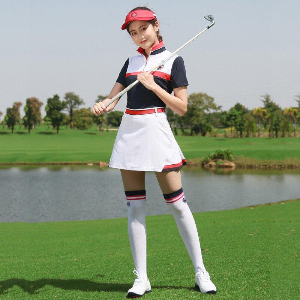 PGM Golf Women's Skirt + Golf T Shirt Women Sport Action Color Block for Tennis Golf Apparel Golf Clothes