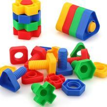 4 компл./лот винтовые строительные блоки пластиковые вставные блоки гайка форма игрушки для детей образовательные игрушечные масштабные модели