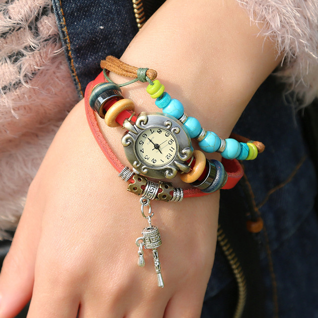 Gnova Platinum Camel Bell Charm Turquoise beads Genuine Leather women Bracelet W