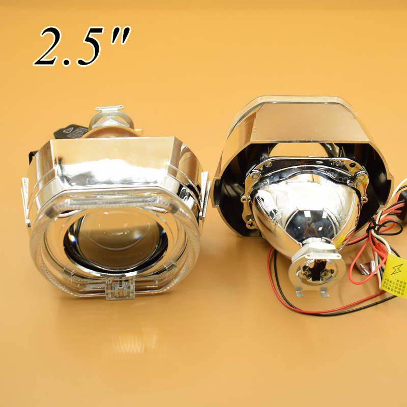 2pcs/Lot,2.5 Mini Hid Projector Lens with Square Shroud Angel Eye Using H1 Bulb for Car Styling H4 H7 Headlight диск сцепления нажимной уаз леп универс 451 1601090 05