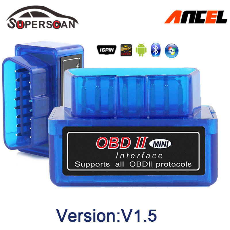 Prix pour 2017 Super Mini ELM327 Bluetooth Interface V1.5 OBD2 II Auto Outil De Diagnostic ELM 327 Travaux SUR Android Couple/PC livraison Gratuite