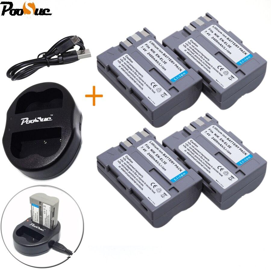 4 * EN-EL3e EN EL3e ENEL3e Batterie + USB Double Chargeur Pour Nikon D30 D50 D70 D70S D90 D80 D100 D200 D300 D300S D700 Numérique caméra