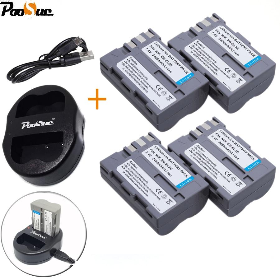 4 * EN-EL3e EN EL3e ENEL3e Batterie + USB Dual Charger Für Nikon D30 D50 D70 D70S D90 D80 D100 D200 D300 D300S D700 Digitale kamera
