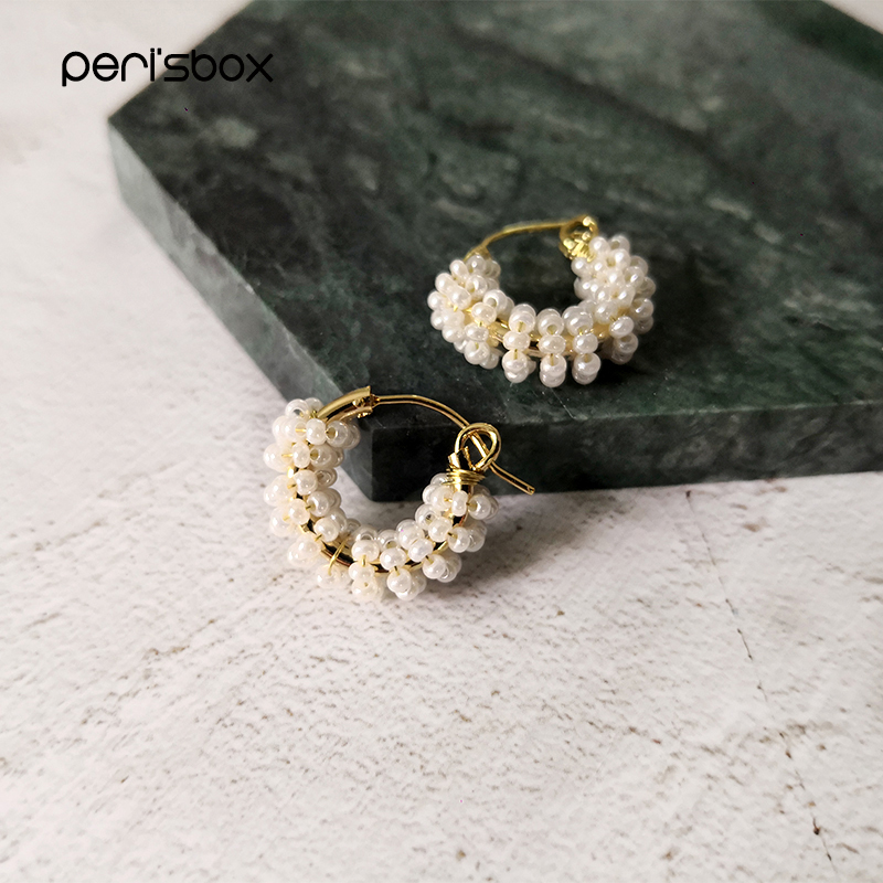 Peri'sBox 19mm Handmade Beaded Pearl Hoop Earrings For Women Dainty Cute Small Hoops Wired Beadwork White Earrings Jewelry