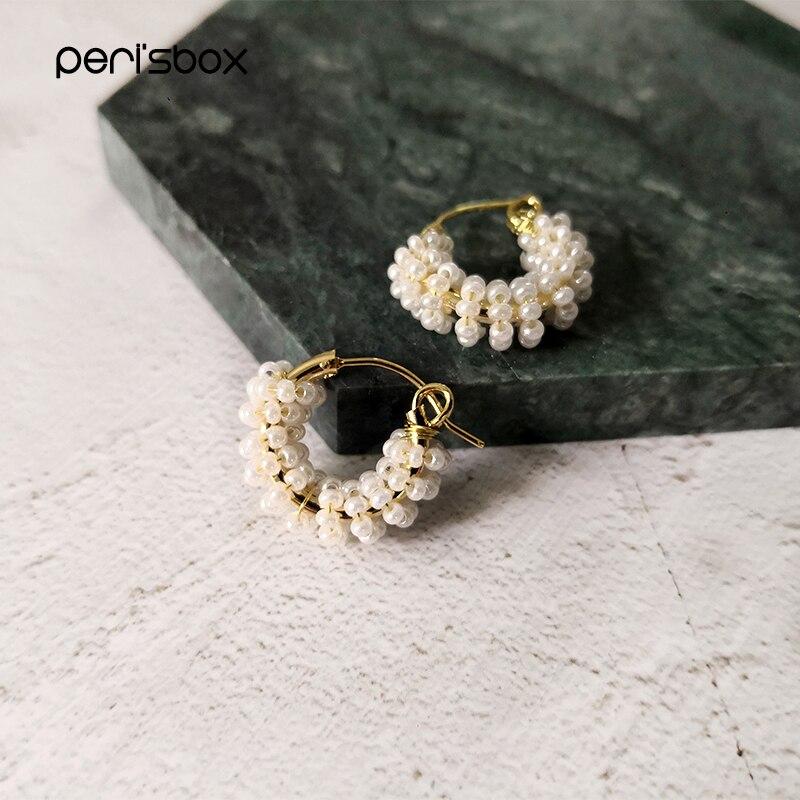 Peri'sBox 19mm Handmade Beaded Pearl Hoop Earrings For Women Dainty Cute Small Hoops Wired Beadwork White Earrings Jewelry
