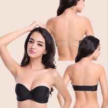 B Cup Women Self Adhesive Magic Push Up Indentation Bras Sexy Strapless Invisible Side Closure