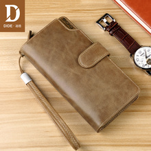 DIDE Fashion casual business Genuine Leather Men Wallets Zipper & Hasp Male Purses Long Phone Wallet Mens Clutch Bags DQ617
