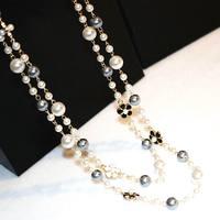 Классическое Двухслойное ожерелье из искусственного жемчуга для женщин Bijoux роскошное модное ювелирное длинное ожерелье прекрасные подарк...