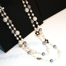 Classic Double Layers Simulated Pearl Necklace Women Bijoux Luxury Fashion Jewelry Long Necklace Fine Gifts For Mother