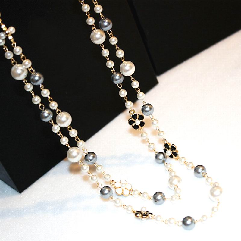Classic Double Layers Simulated Pearl Necklace Women Bijoux s