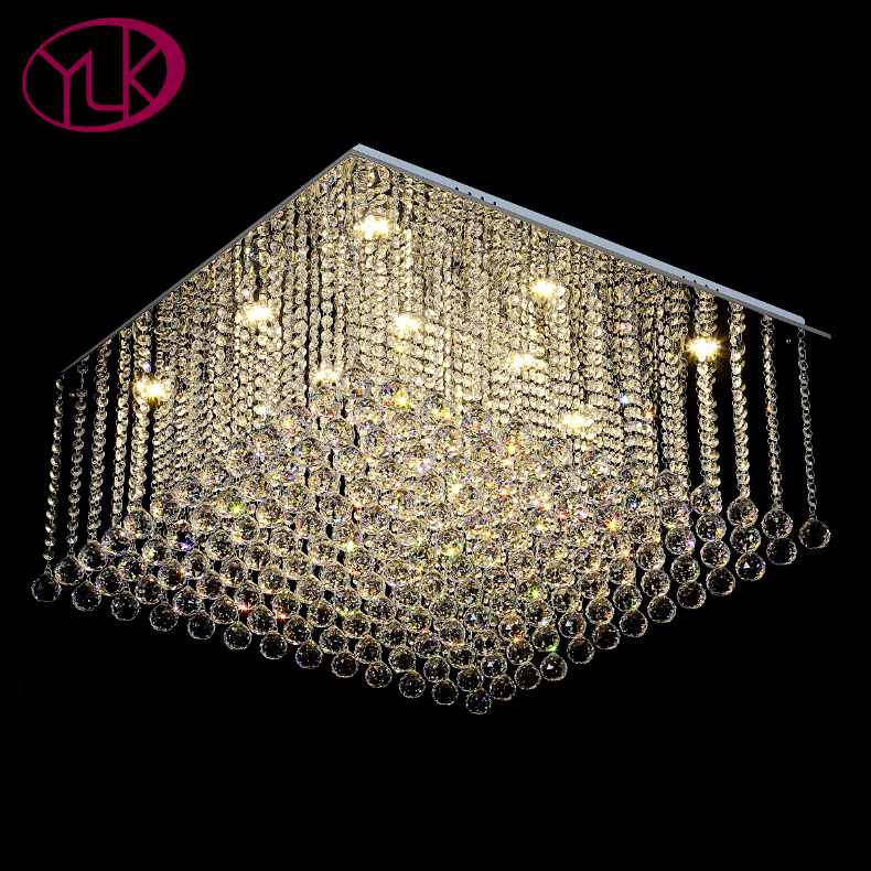 Youlaike Square Crystal Chandelier For Living Room Luxury Flush Mount LED Crystal Light Lustres De Cristal