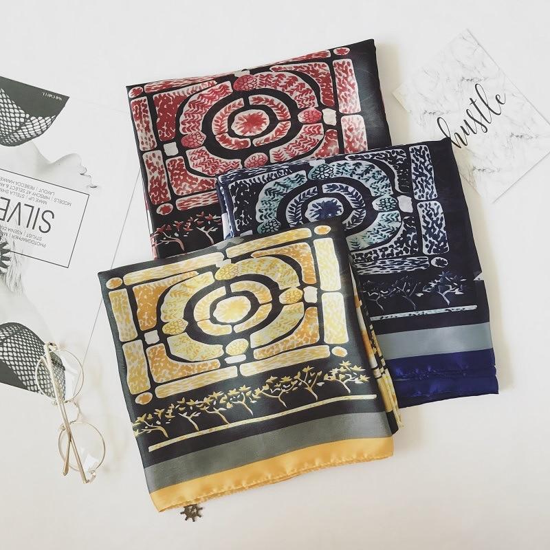 2018 silk chiffon print scarf pendant foulard islamic hijab scarfs vintage shinny women pashmina bandana high quality 3 colors