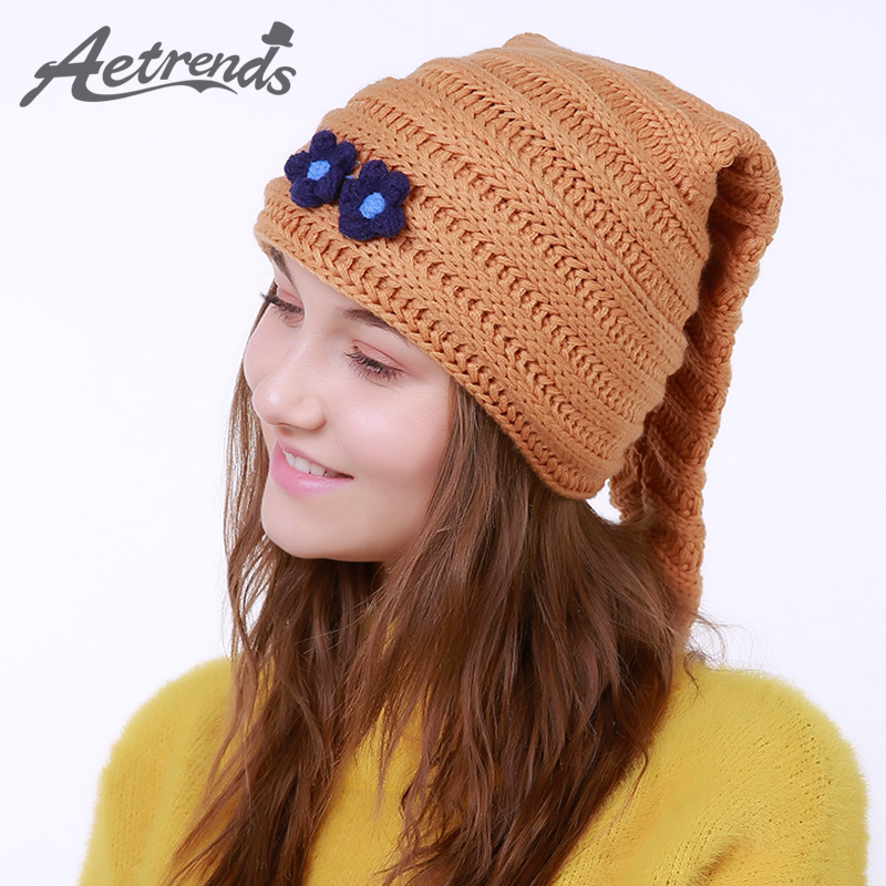 [AETRENDS] 2017 New Winter Beanie Hats for Women Warm Knitted Caps Beanies Z-5992 2016 new beautiful colorful ball warm winter beanies women caps casual sweet knitted hats for women outdoor travel free shipping