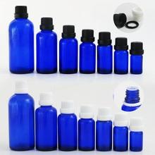 200 x 5ml 10ML 15ml 20ml 30ml 50ml 100ml Cobalt Blue Mini Glass Essential Oil Bottle With White Black Tamper Evident Cap Reducer