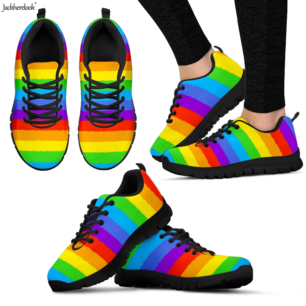 Jackherelook Sneakers Flats-Shoes Footwear Flags Rainbow Air-Mesh Pride-Pattern Woman
