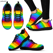 Jackherelook Rainbow Flags Pride Pattern Woman Flats Shoes A