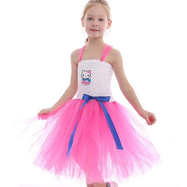 d70fd6da5 Toddler Girls Summer Hello Kitty Tutu Princess Dresses Cotton Mesh Baby Girl  Cartoon Party Dress Children's