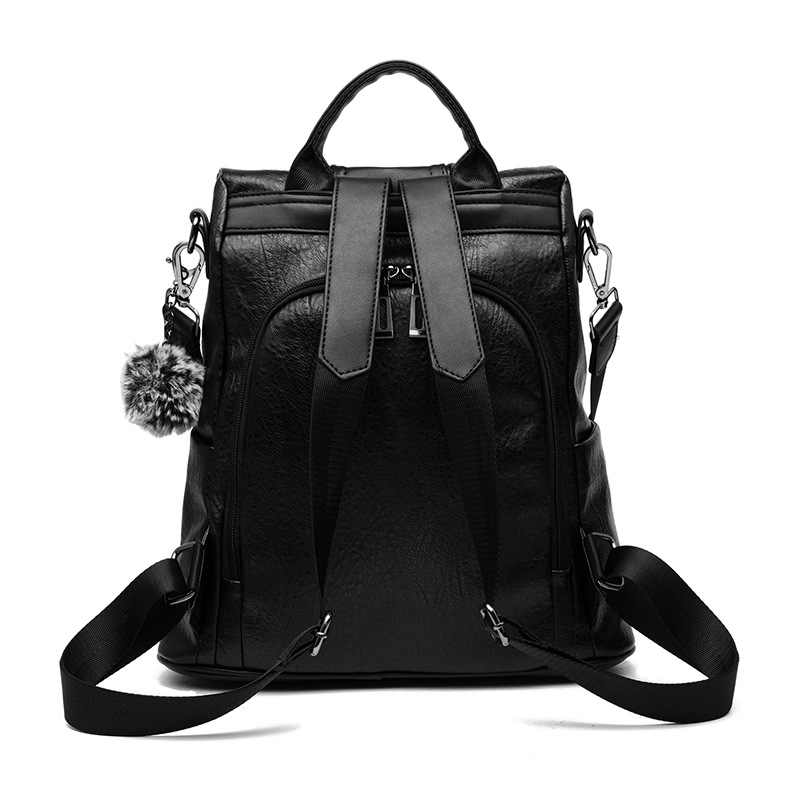 Pu Leather Women Backpack Fashion School Bags For Teenager Girls Large Casual Anti-theft Black Brown Travel Backpacks #3