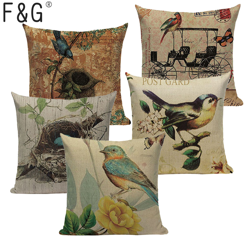 Incredible Us 3 02 37 Off Bird Animal Tree Retro Style Cushion Cover Cute Throw Pillow Cover Car Sofa Chair Living Room Home Decorative Custom Pillow Case In Machost Co Dining Chair Design Ideas Machostcouk